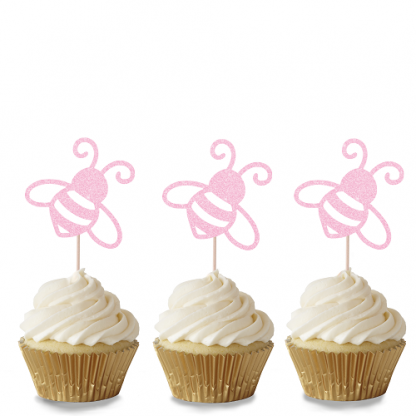 Bee Cupcake Toppers - Baby Pink