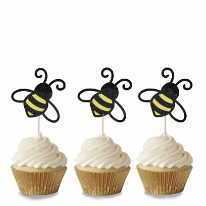 Bee Cupcake Toppers - Black & Gold