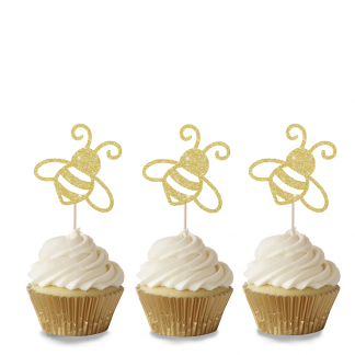 Bee Cupcake Toppers - Gold
