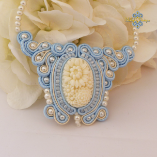 Blue cameo flower necklace. Soutache jewellery MollyG Designs