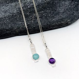 Gemstone bar necklace, sterling silver with amethyst or amazonite