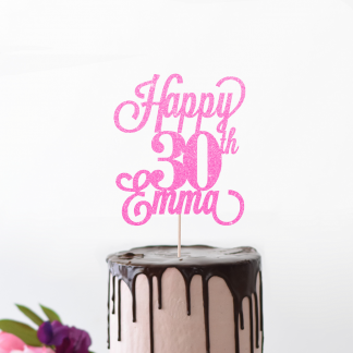 30th Birthday Cake Topper - Bright Pink