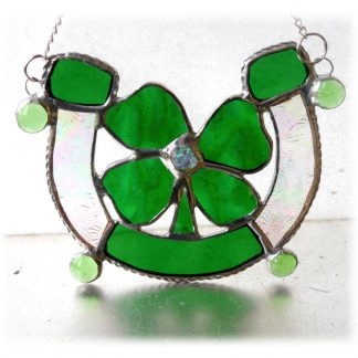 Good luck horseshoe clover stained glass suncatcher
