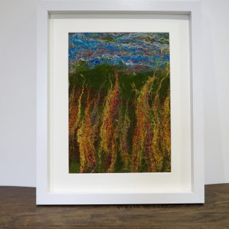 Meadow Fire A unique, handmade, wet felt painting. Louise Hancox Textile Artist