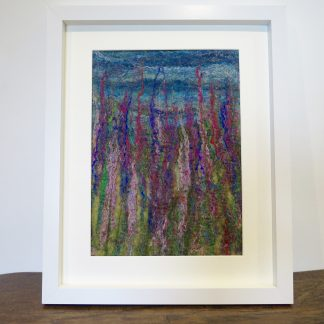 High Summer Handmade Wet Felt Painting. Louise Hancox Textile Artist