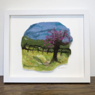 'Welcoming Spring' Handmade Wet Felt Painting Louise Hancox Textile Artist