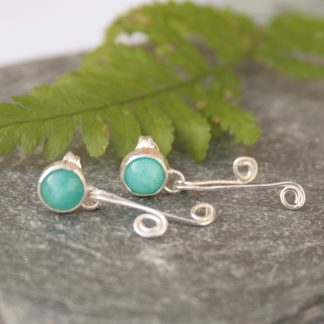 Thistledown wishes amazonite and silver earrings