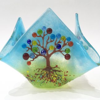 Tree of life candle vase, fused glass hankie vase, seven chakras, rainbow colours