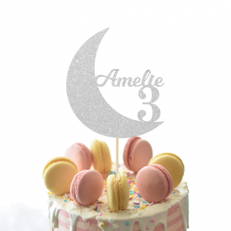 Moon Cake Topper - Silver
