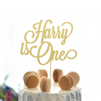 Any Name and Age Cake Topper - Gold