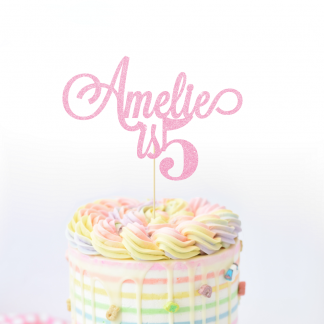 Personalised Birthday Cake Topper - Baby Pink