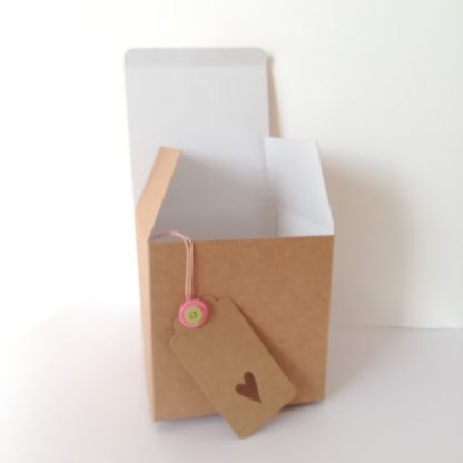 recycled gift box with handmade gift tag