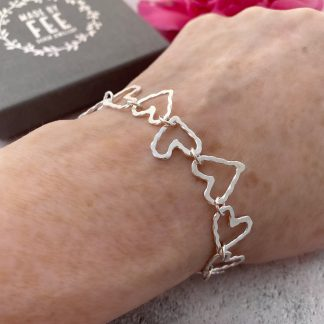 Sterling Silver Heart chain link bracelet for women circle of hearts