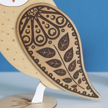 barn owl standing wooden etched painted etchablelaserdesign