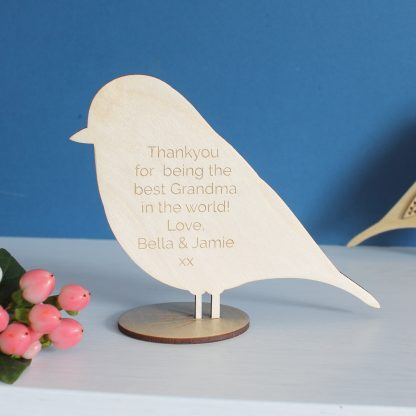 etched gift message wooden bird etchable laser design