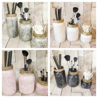 Marbled Make Up Brush Holder Jars