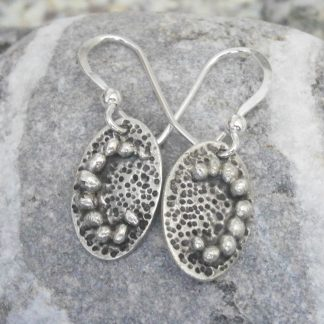 Fine silver oval earrings