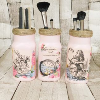 Pink Alice in Woderland Make Up Brush Holder Jars