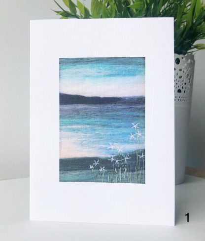 A6 Printed card of Scottish Wool Art coastal landscape