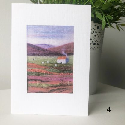 A6 printed card of Scottish Wool Art landscape hills with orange roofed cottage and sheep