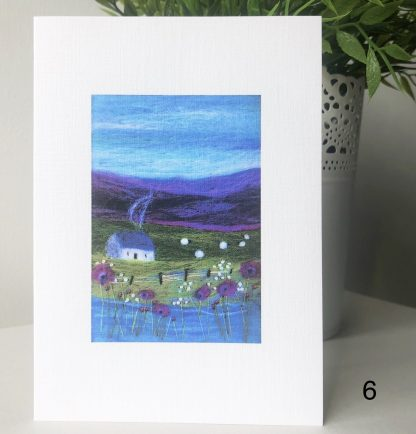 A6 Printed card of Scottish Wool Art landscape purple hills and flowers loch with cottage and sheep