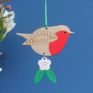 robin hanging decoration wooden bird etchablelaserdesign