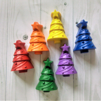christmas tree shaped wax crayons in rainbow colours