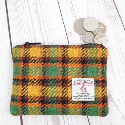 Earth tone check Harris Tweed Coin Purse.