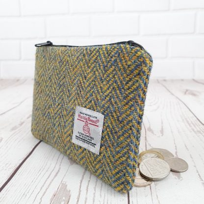 Yellow Blue Herringbone Harris Tweed coin purse
