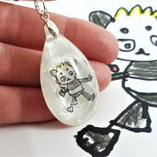 actual kid's drawing necklace keyring children's art keepsake gift for mum dad grandma personalised wearable art