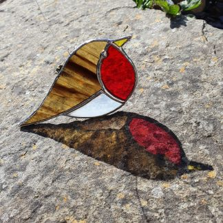 Stained glass copper foil Robin suncatcher
