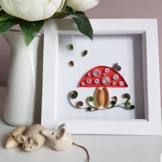 Paper quilling toadstool woodland scene