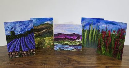 Set of five blank greetings cards . Louise Hancox Textile Artist