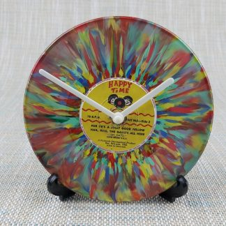 Multicoloured psychedelic 7 inch single converted into a clock