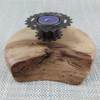 Acacia plinth and recycled bike part tealight holder