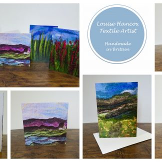 Blank Greetings Cards Featuring Original Textile Artwork. Louise Hancox Textile Artist.