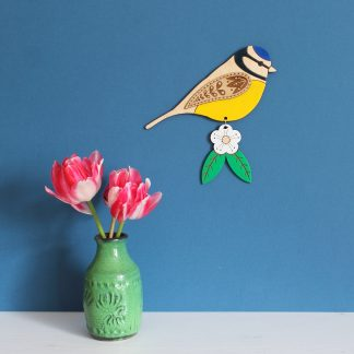 Blue tit wall hanging wooden painted etchablelaserdesign