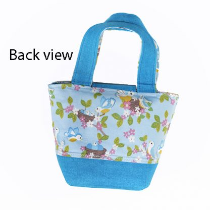 Back view of blue toy tote bag