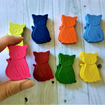 Cat shaped wax crayons in rainbow colours