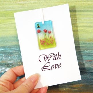 Fused glass greeting card with gift - pink flowers light catcher with bee - printed With Love