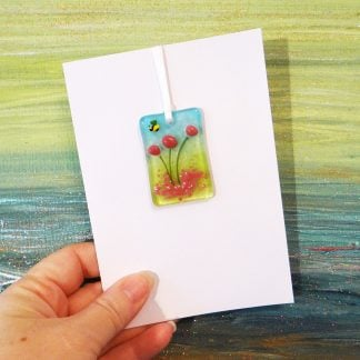 Fused glass greeting card with gift - pink flowers light catcher with bee