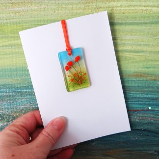 Fused glass greeting card with gift - orange flowers light catcher