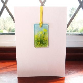 Fused glass greeting card with gift - yellow flowers light catcher - blank inside