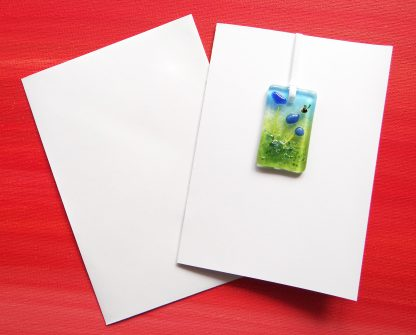 Blue flowers with bee greeting card, fused glass panel, light catcher, keepsake, Thank you, birthday, sympathy, blank inside