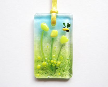 Fused glass greeting card - yellow flowers with bee - blank inside