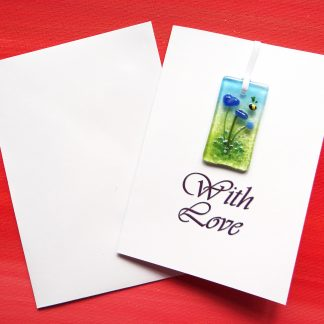Fused glass greeting card with gift - blue flowers light catcher with bee