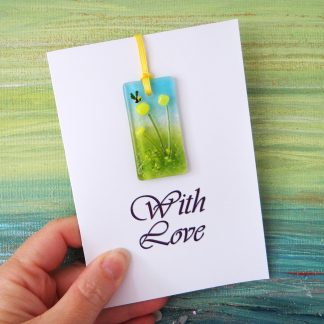 Fused glass greeting card with gift - yellow flowers light catcher with bee - printed With Love