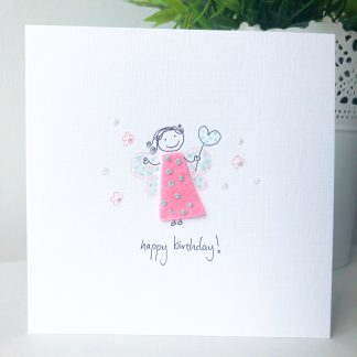 handmade wee fairy birthday card with pink felt dress, hand drawn love heart