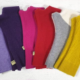 Cashmere fingerless gloves and wristwarmers in mauve, purple, red, cerise, grey and white and yellow