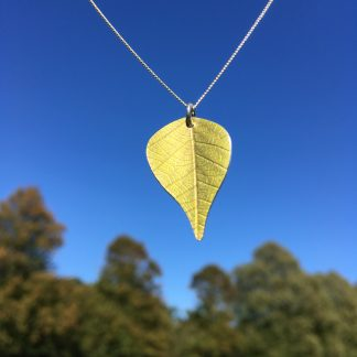 Vibrant green Silver Birch necklace